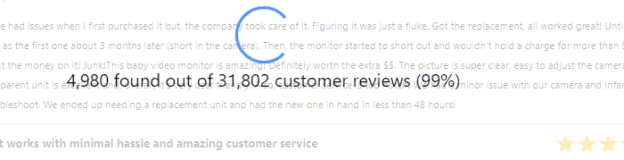 Snapshot Showing one of our tools running through thousands of reviews.