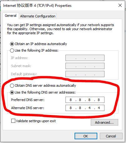 StrongVPN internet 协议版本4 DNS设置