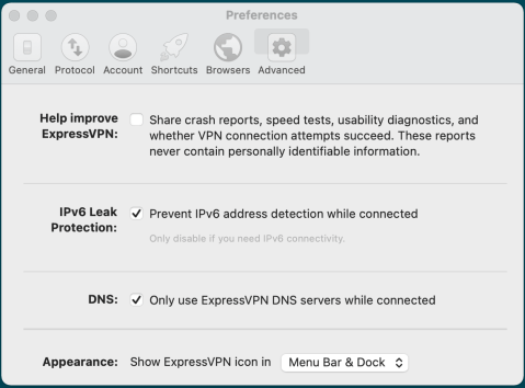 ExpressVPN Macbook 设置 Preferences Advanced