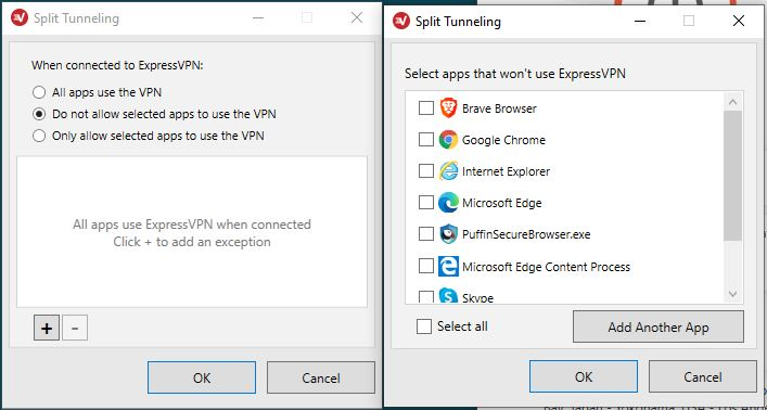 ExpressVPN - Split tunneling-settings - select apps that wont use expressvpn