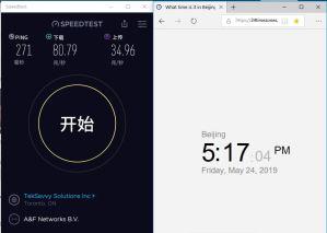 ExpressVPN windows canada-toronto-2节点 翻墙成功-speedtest-1-20190524
