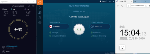 IvacyVPN Windows10 Canada 中国VPN翻墙 科学上网 SpeedTest测速 - 20200220