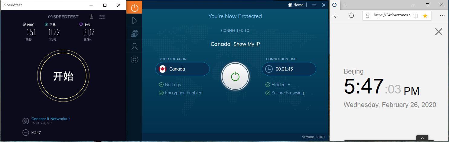 IvacyVPN Windows10 Canada 中国VPN翻墙 科学上网 Youtube测速-20200226