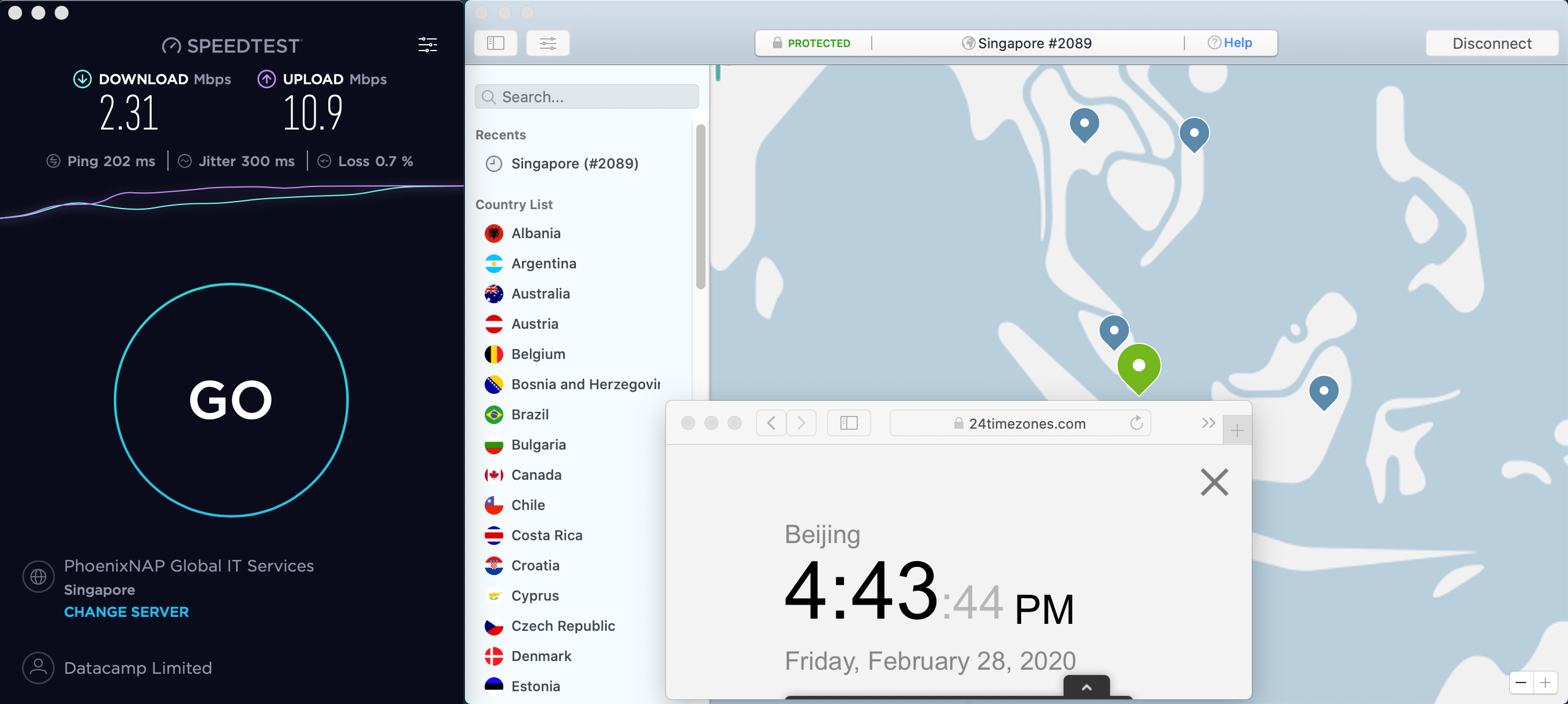 Macbook NordVPN Singapore #2089 中国VPN翻墙 科学上网 SpeedTest测速 2020-02-28 at 16.43.45