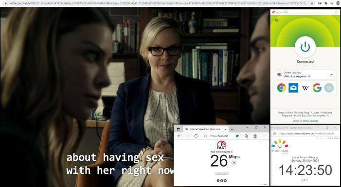 NetFlix测速 Windows10 ExpressVPN Automatic协议 USA - Los Angeles - 5 服务器 中国VPN 翻墙 奈飞 Barry测试 - 20210530