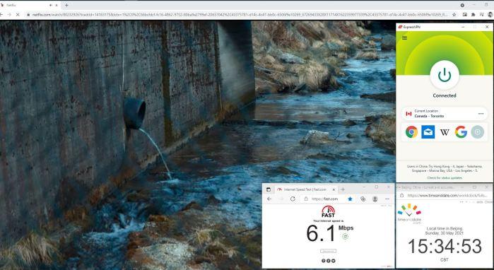 NetFlix测速 Windows10 ExpressVPN Lightway-udp协议 Canada - Toronto 服务器 中国VPN 翻墙 奈飞 Barry测试 - 20210530