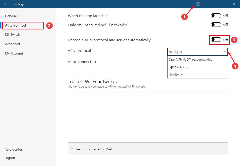 NordLynx - Windows设置
