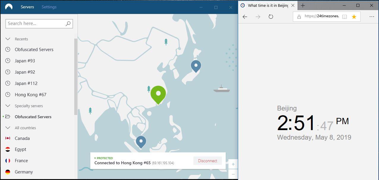 NordVPN windows 混淆服务器 hongkong-65 翻墙成功-20190508