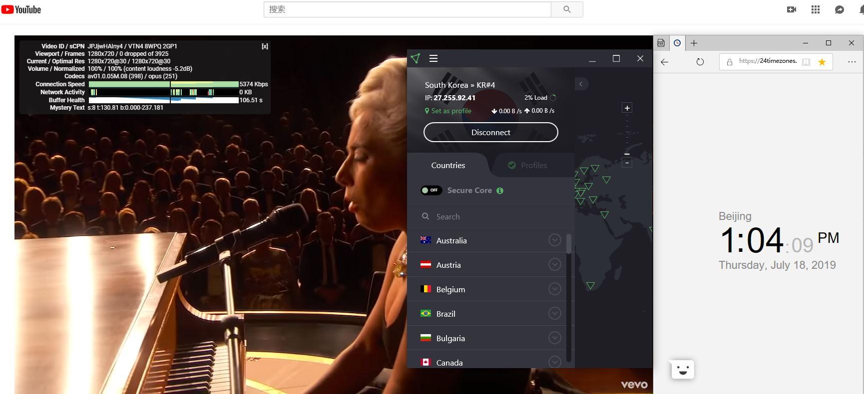 Protonvpn Windows 翻墙 科学上网 韩国Kr#4服务器 YouTube速度测试-20190718