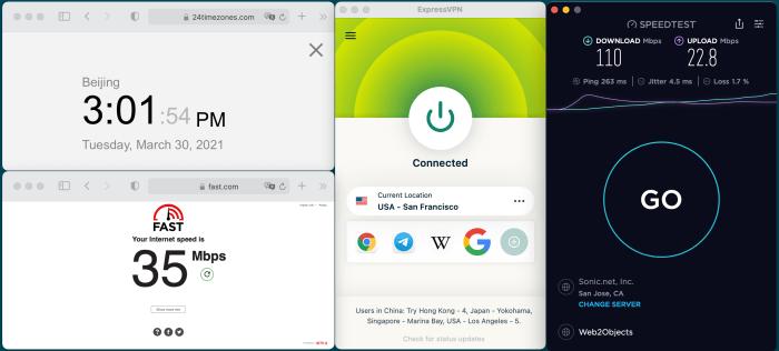 Macbook ExpressVPN Lightway-UDP USA – San Francisco 服务器 中国VPN 翻墙 科学上网 10BEASTS Barry测试 - 20210330