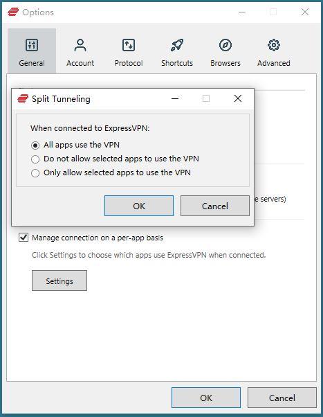 Windows ExpressVPN Options General split Tunneling all apps use the VPN
