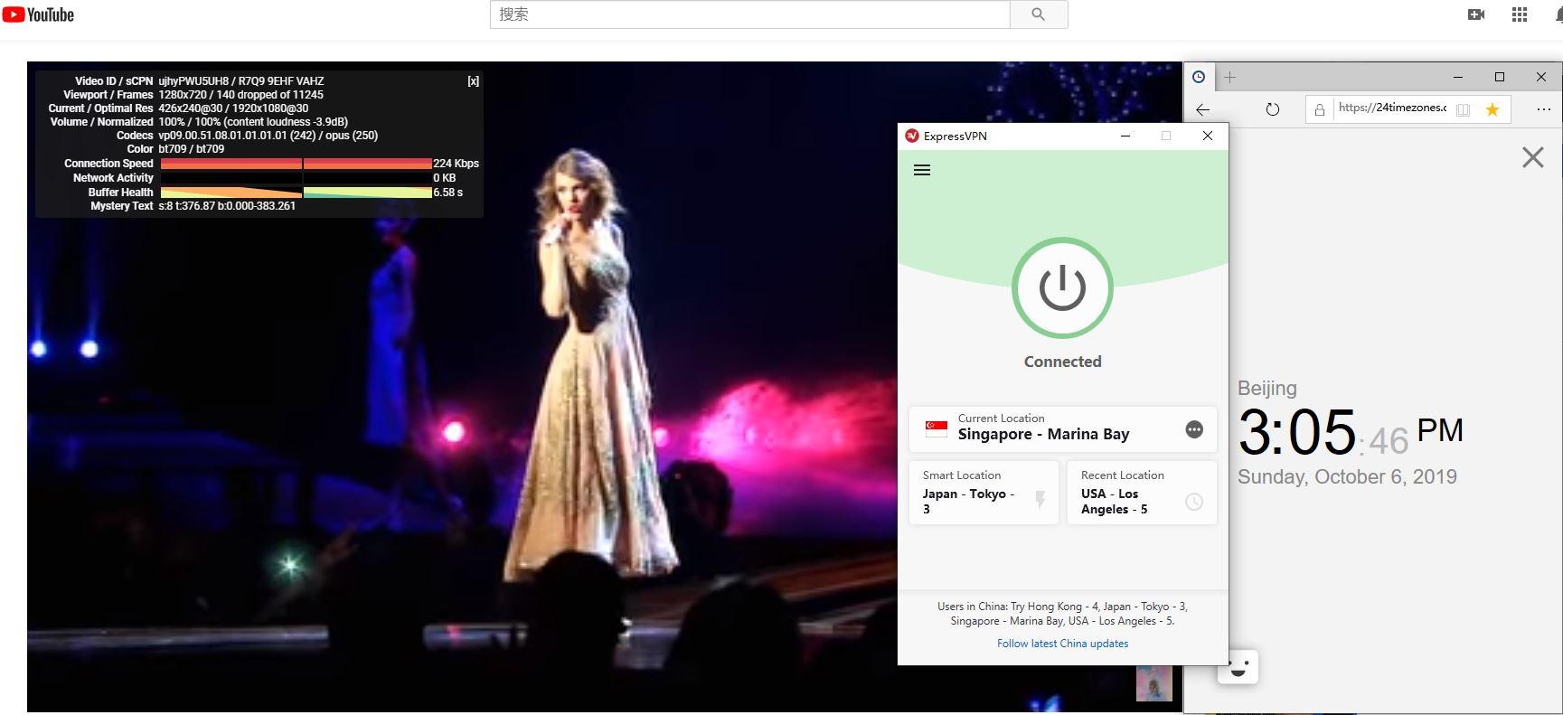 Windows ExpressVPN Singapore - Marina Bay 中国VPN翻墙 科学上网 YouTube测速-20191006