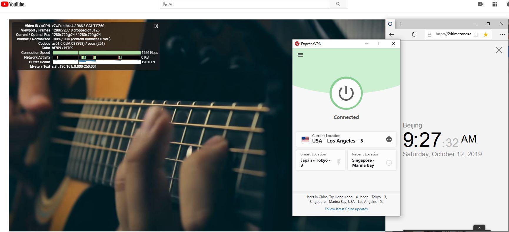 Windows ExpressVPN USA - Los Angeles - 5 中国VPN翻墙 科学上网 YouTube测速 - 20191012