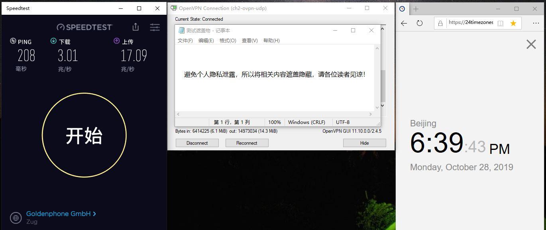 Windows IvacyVPN CH2-UDP 中国VPN翻墙 科学上网 SpeedTest - 20191028