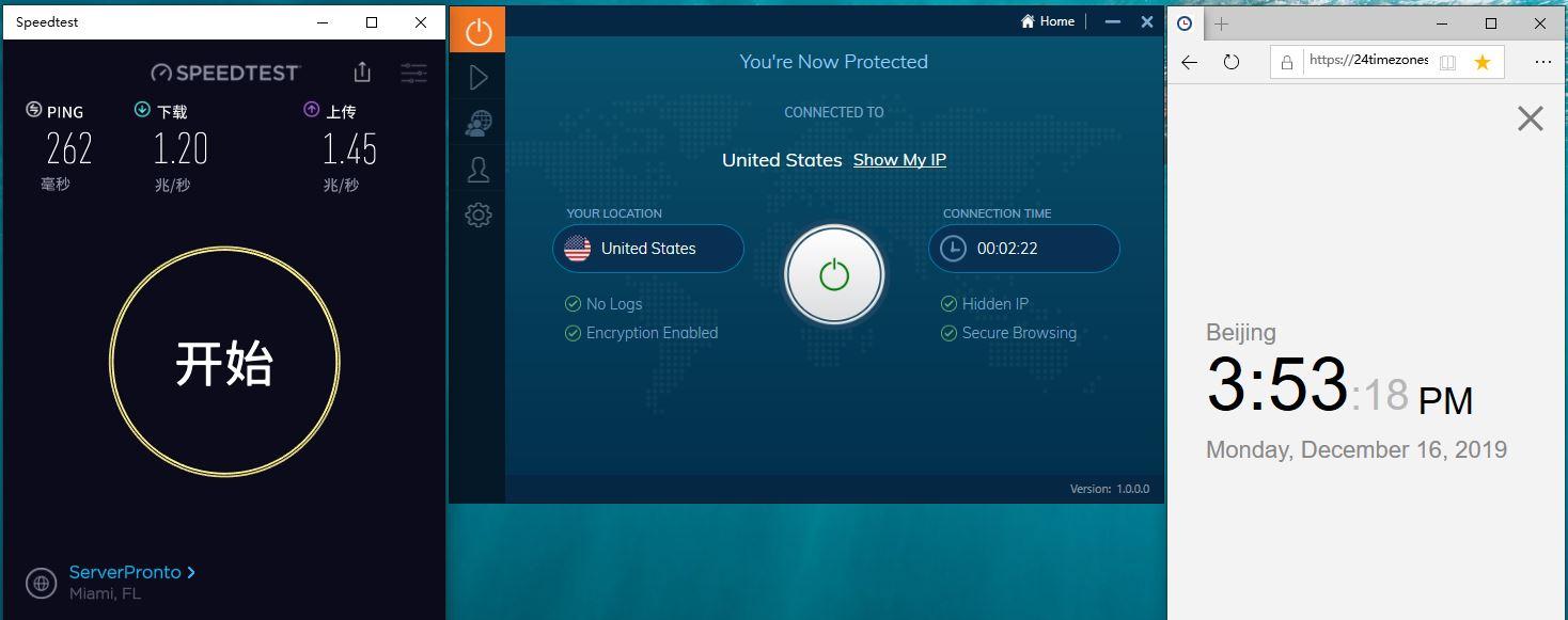 Windows IvacyVPN USA 中国VPN翻墙 科学上网 SpeedTest测试 - 20191216