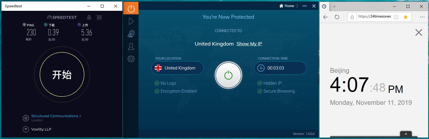Windows IvacyVPN United Kingdom 中国VPN翻墙 科学上网 Speed test测速 - 20191111