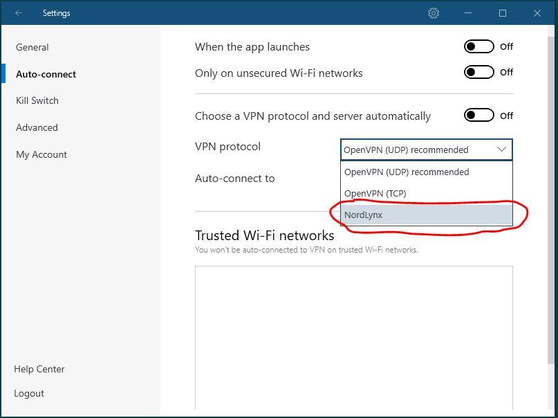 Windows NordVPN 连接协议设置 步骤四