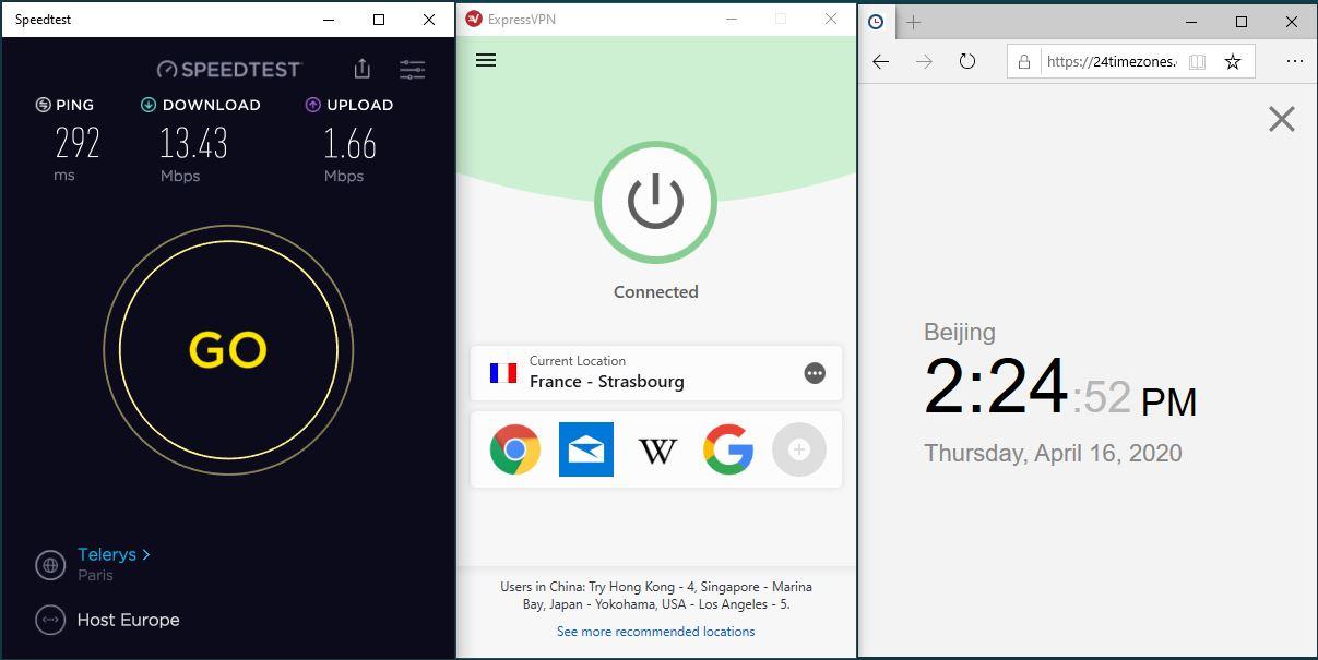 Windows10 ExpressVPN France - Strasbourg 中国VPN 翻墙 科学上网 SpeedTest测速-20200416