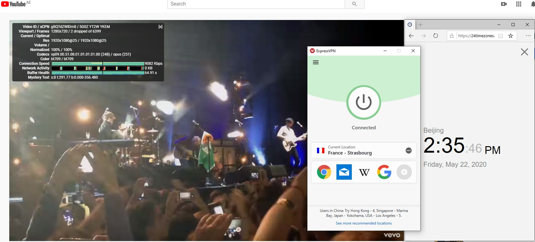 Windows10 ExpressVPN France - Strasbourg 中国VPN 翻墙 科学上网 youtube测速-20200522-1