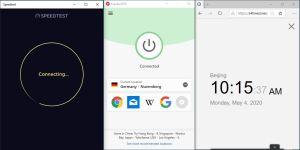 Windows10 ExpressVPN Germany - Nuremberg 中国VPN 翻墙 科学上网 SpeedTest测速-20200504