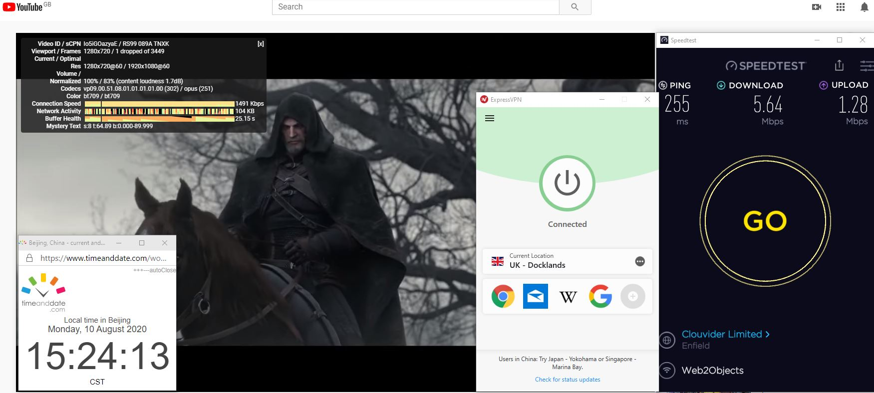 Windows10 ExpressVPN IKEv2协议 UK- Docklands 中国VPN 翻墙 科学上网 翻墙速度测试 - 20200810