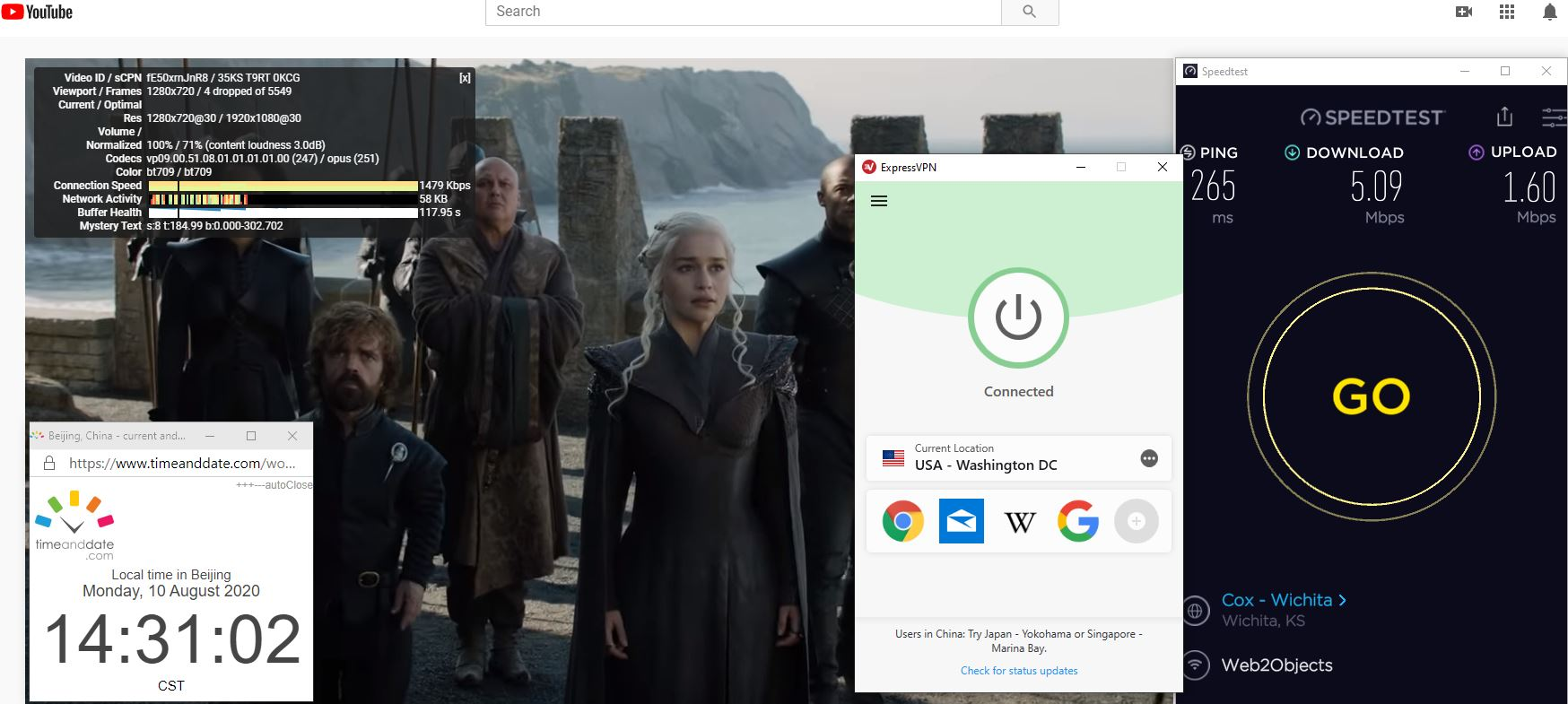 Windows10 ExpressVPN IKEv2协议 USA - Waington DC 中国VPN 翻墙 科学上网 翻墙速度测试 - 20200810