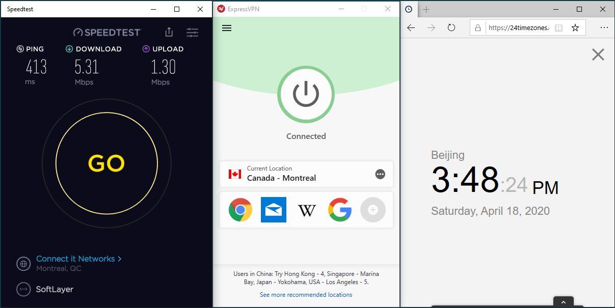 Windows10 ExpressVPN IKEv2 Canada - Montreal 中国VPN 翻墙 科学上网 SpeedTest测速-20200418
