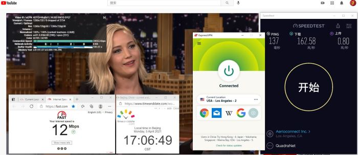 Windows10 ExpressVPN IKEv2 USA - Los Angeles - 2 服务器 中国VPN 翻墙 科学上网 10BEASTS Barry测试 - 20210405