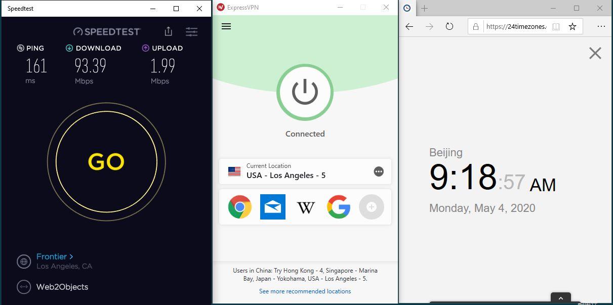 Windows10 ExpressVPN USA - Los Angeles - 5 中国VPN 翻墙 科学上网 SpeedTest测速-20200504