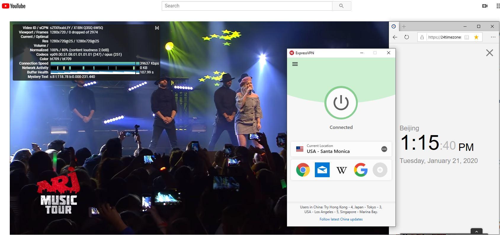 Windows10 ExpressVPN USA - Santa Monica 中国VPN翻墙 科学上网 Youtube测速-20200121