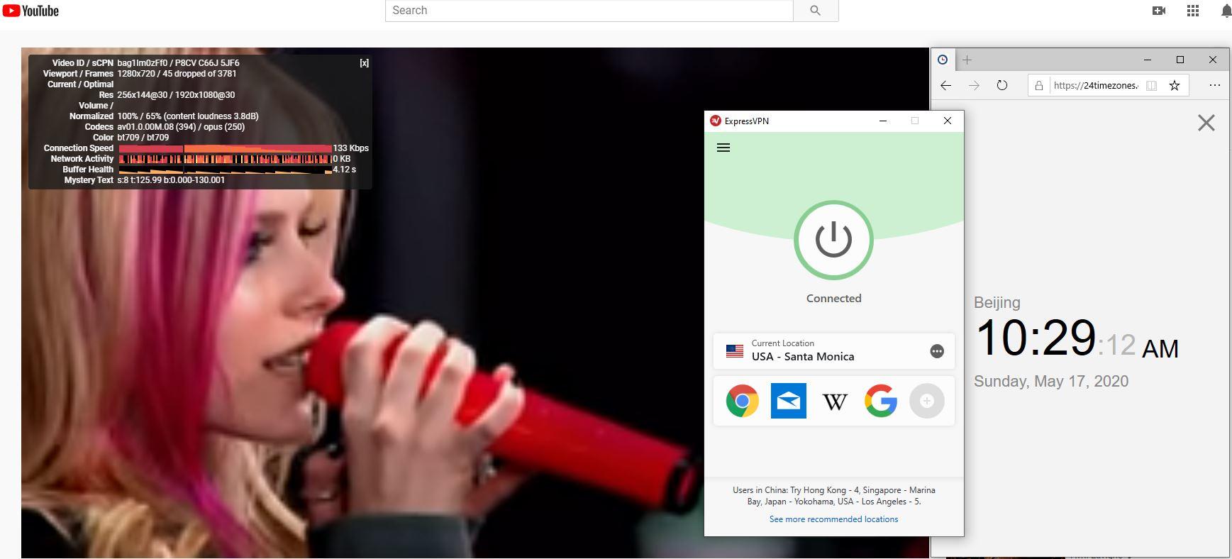 Windows10 ExpressVPN USA -Santa Monica 中国VPN 翻墙 科学上网 youtube测速-20200517