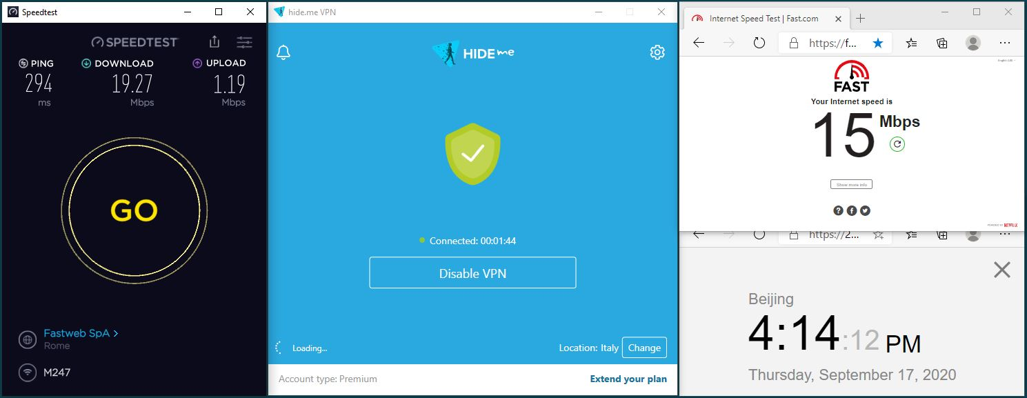 Windows10 HidemeVPN Streaming Italy-DAZN 服务器 中国VPN 翻墙 科学上网 翻墙速度测试 - 20200917