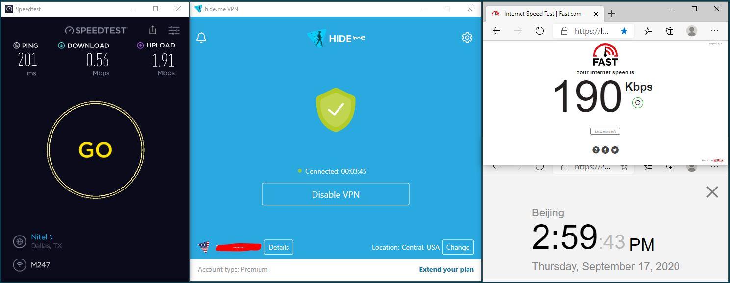 Windows10 HidemeVPN USA Central 服务器 中国VPN 翻墙 科学上网 翻墙速度测试 - 20200917