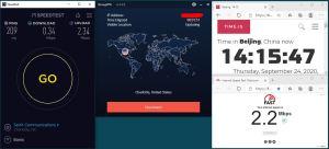 Windows10 IKEv2 StrongVPN USA-Charlotte 服务器 中国VPN 翻墙 科学上网 翻墙速度测试 - 20200924