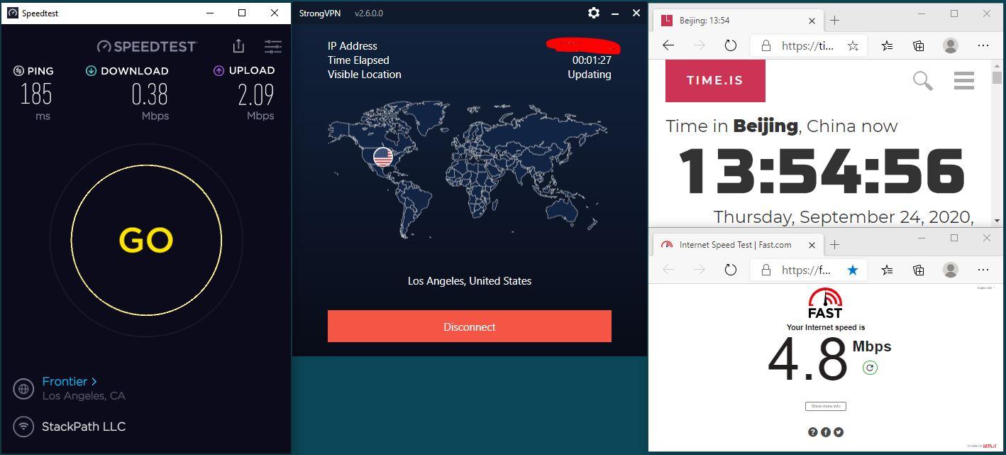Windows10 IKEv2 StrongVPN USA-Los Angeles 服务器 中国VPN 翻墙 科学上网 翻墙速度测试 - 20200924