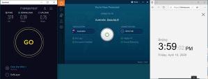 Windows10 IvacyVPN Australia 中国VPN 翻墙 科学上网 SpeedTest测速-20200410
