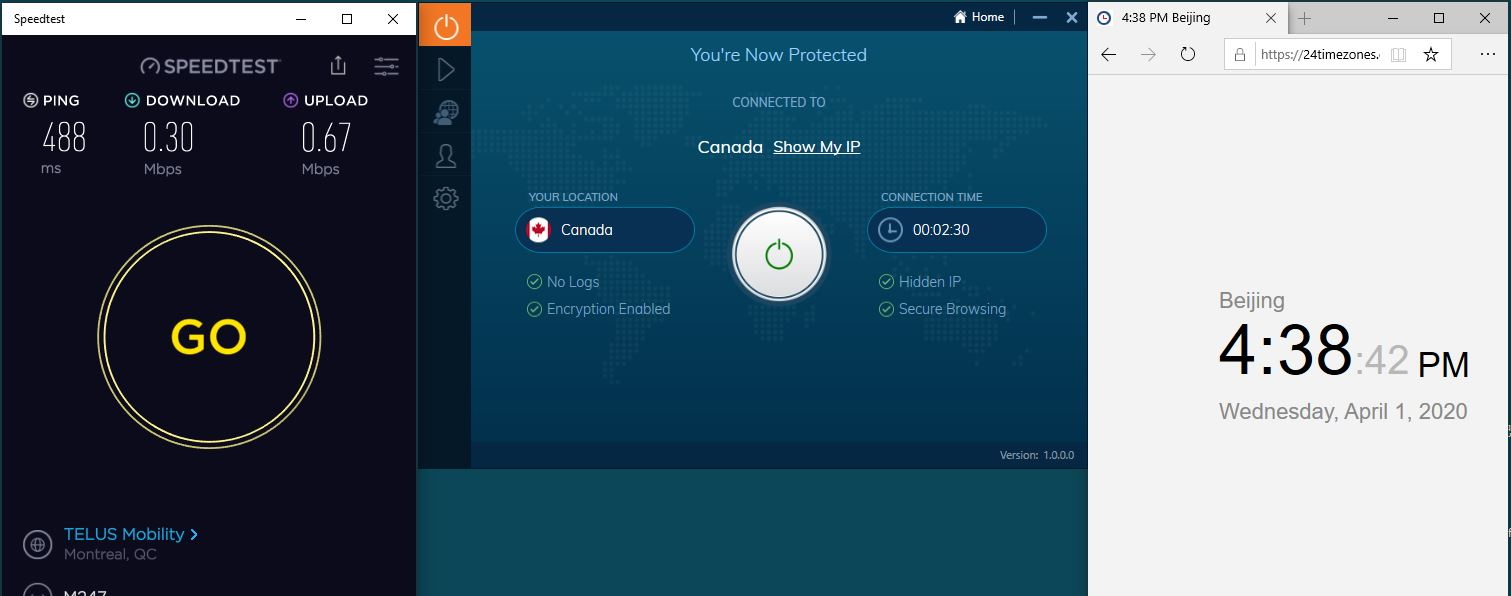 Windows10 IvacyVPN Canada 中国VPN翻墙 科学上网 SpeedTest测速-20200401