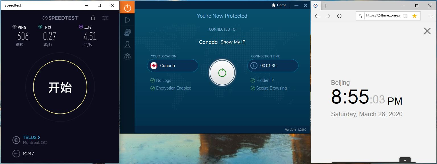 Windows10 IvacyVPN Canada 中国VPN翻墙 科学上网 Speedtest测速 - 20200328