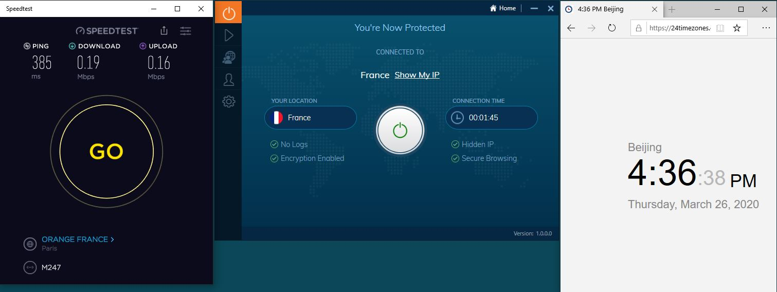 Windows10 IvacyVPN France 中国VPN翻墙 科学上网 SpeedTest测速-20200326