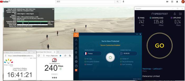 Windows10 IvacyVPN IKEv2协议 France 服务器 中国VPN 翻墙 科学上网 10BEASTS Barry测试 - 20210423-1