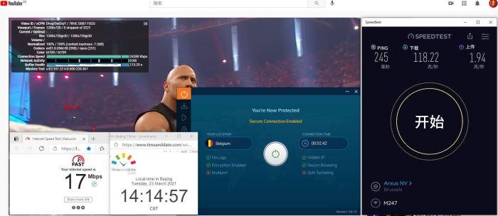 Windows10 IvacyVPN IKEv2 Belgium 服务器 中国VPN 翻墙 科学上网 10BEASTS Barry测试 - 20210323