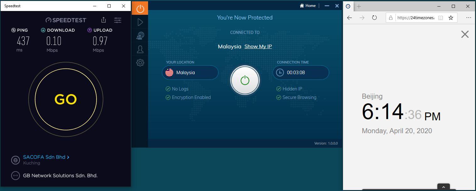 Windows10 IvacyVPN Malaysia 中国VPN 翻墙 科学上网 SpeedTest测速-20200420