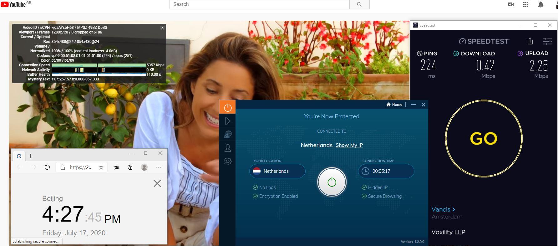 Windows10 IvacyVPN Netherlands中国VPN 翻墙 科学上网 测速-20200717