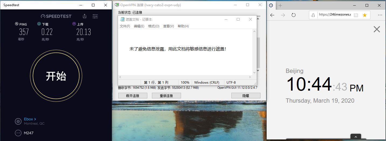 Windows10 IvacyVPN OpenVPN CATO-2 中国VPN翻墙 科学上网 Youtube测速 - 20200319