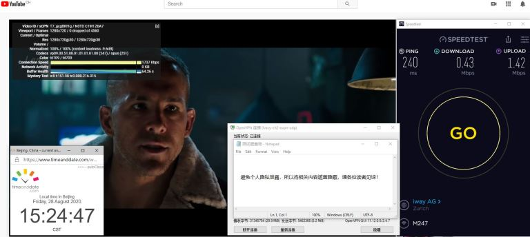 Windows10 IvacyVPN OpenVPN GUI ch2 中国VPN 翻墙 科学上网 翻墙速度测试 - 20200828