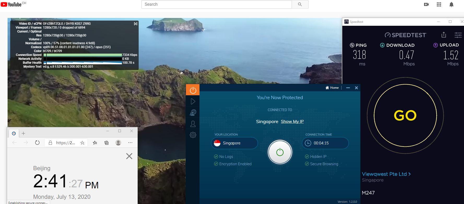 Windows10 IvacyVPN Singapore 中国VPN 翻墙 科学上网 测速-20200713