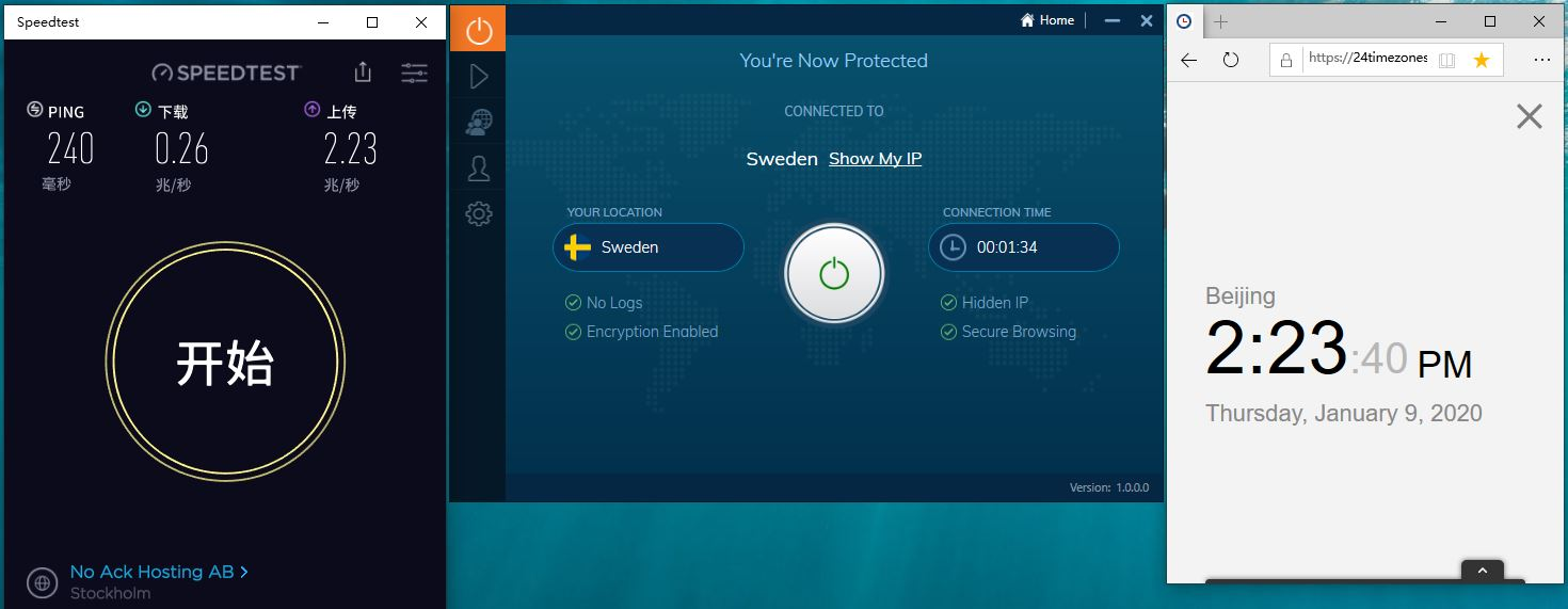 Windows10 IvacyVPN Sweden 中国VPN翻墙 工具 科学上网 SpeedTest测试-20200109