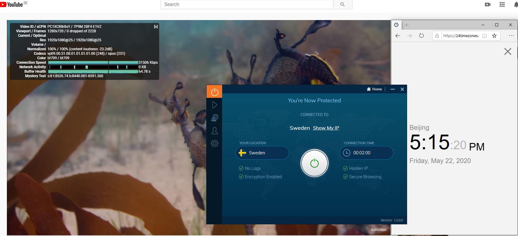 Windows10 IvacyVPN Sweden 中国VPN 翻墙 科学上网 youtube测速-20200522