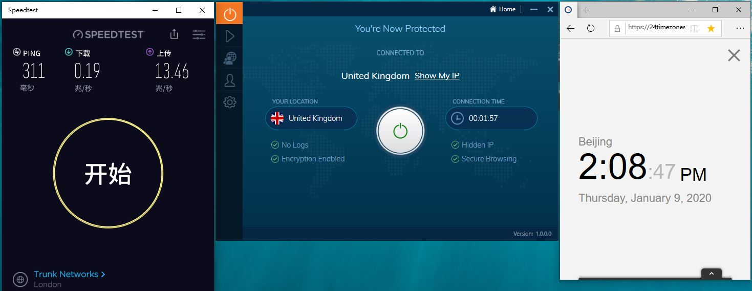 Windows10 IvacyVPN UK 中国VPN翻墙 工具 科学上网 SpeedTest测试-20200109
