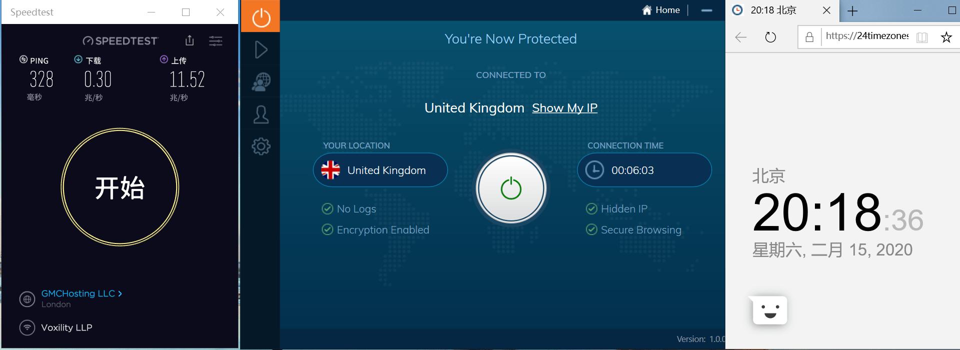 Windows10 IvacyVPN UK 中国VPN翻墙 科学上网 SpeedTest测速-20200215